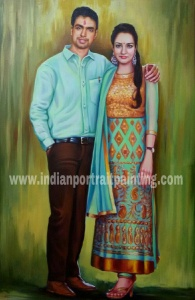 Hand painted couple portrait from photo