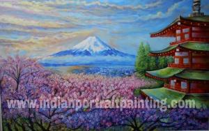 Landscape watercolor painting on canvas