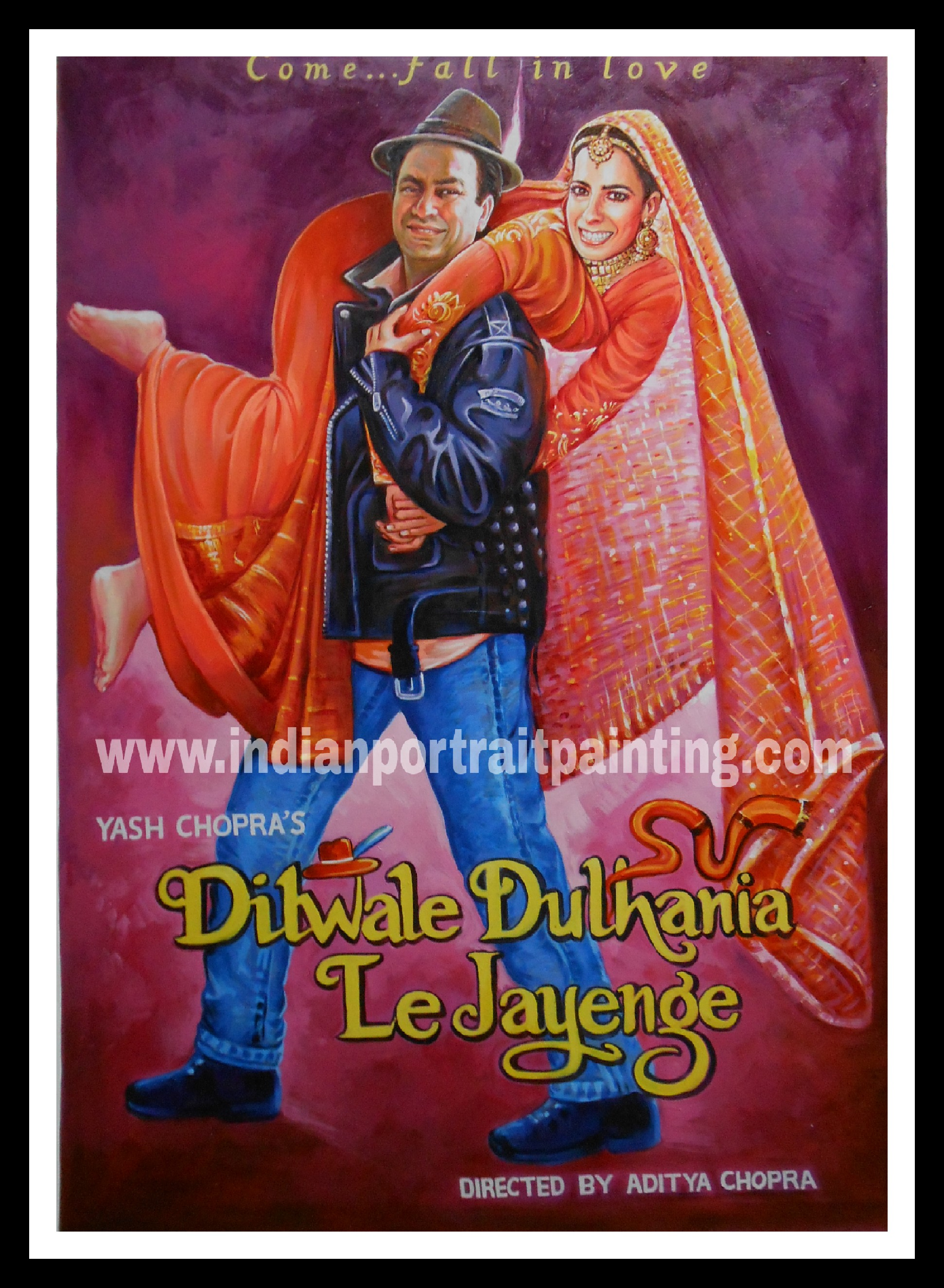 Bollywood themed wedding decor and invitation – Indian Portrait Painting