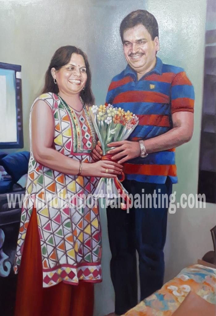 Custom family portrait by indian artist mumbai