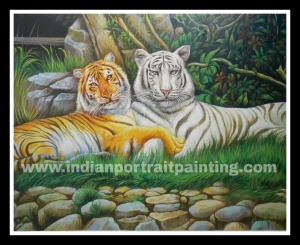 Customised animals portrait paintings on oil canvas - Tiger