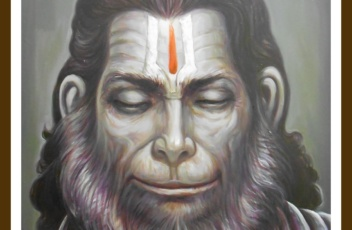Hanuman ji painting on oil canvas
