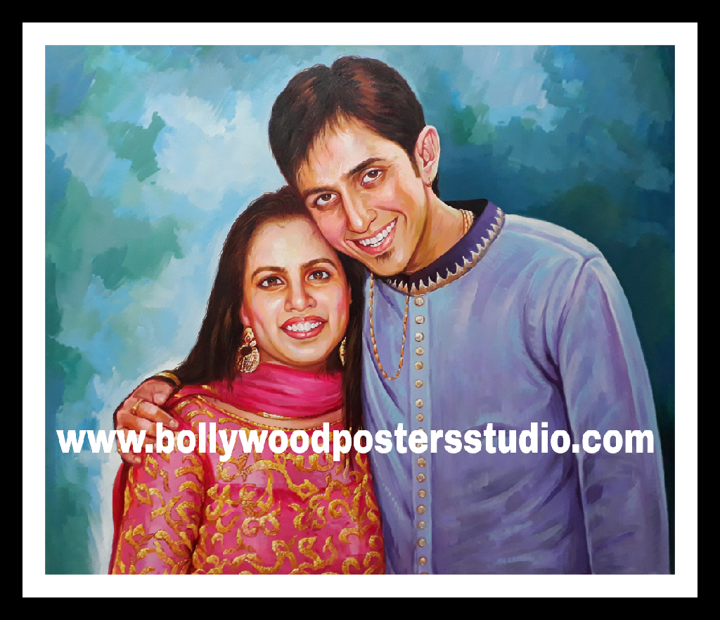Indian portrait painting for couple