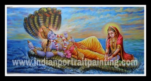 Lord Vishnu oil painting on canvas