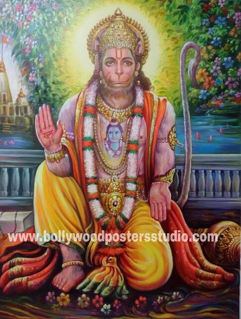 original hand painted hanuman ji on canvas indian portrait painting