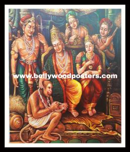 Original hand painted shree Ram darbar painting on oil canvas
