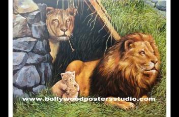 Personalized hand drawn animals portrait painting artist - Lion