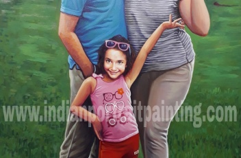 Unique family hand painted portraiture