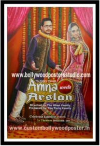 Custom made bollywood poster hand painted