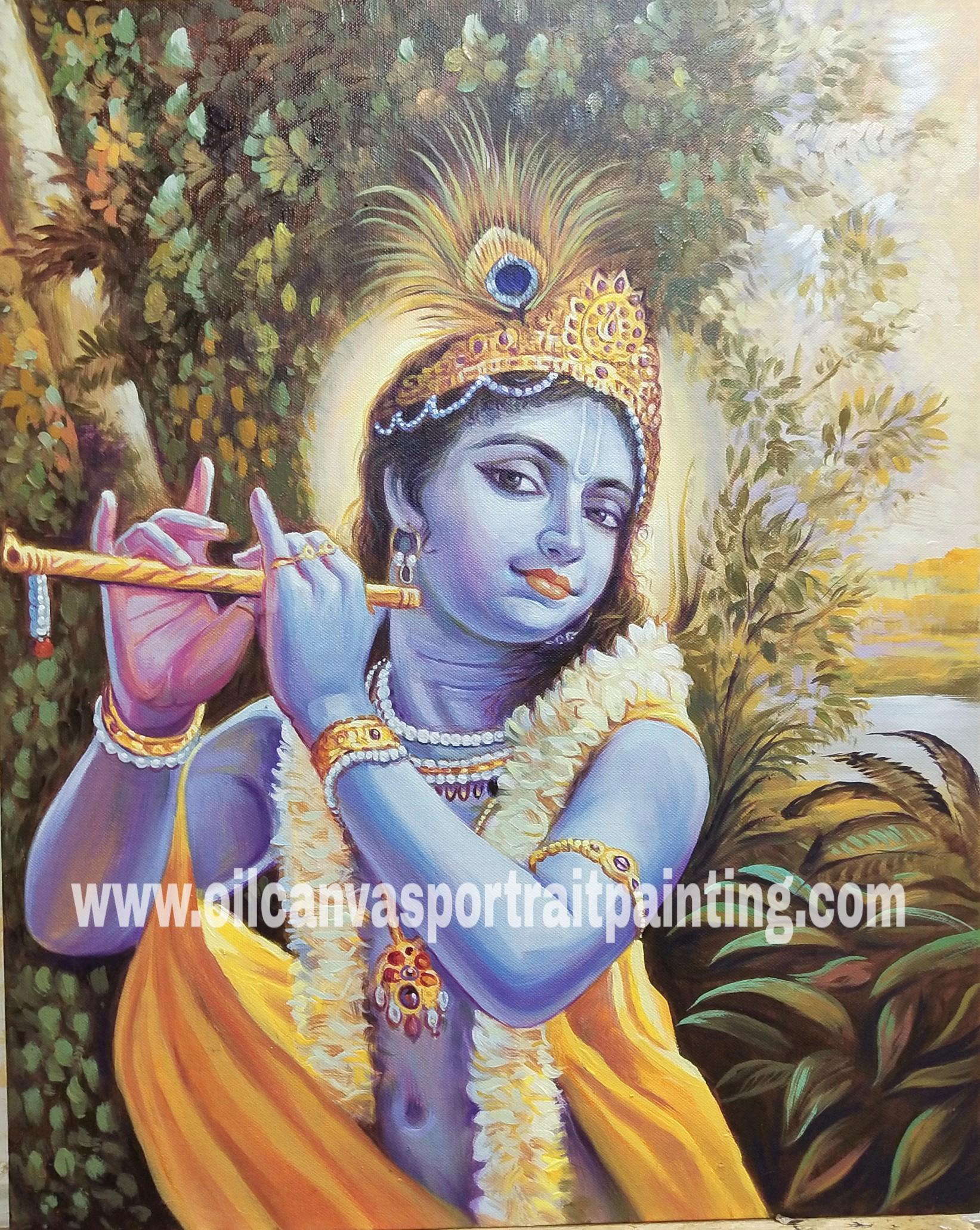 Krishna playing flute paintings