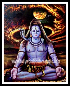 Mahadev rudra oil canvas painting