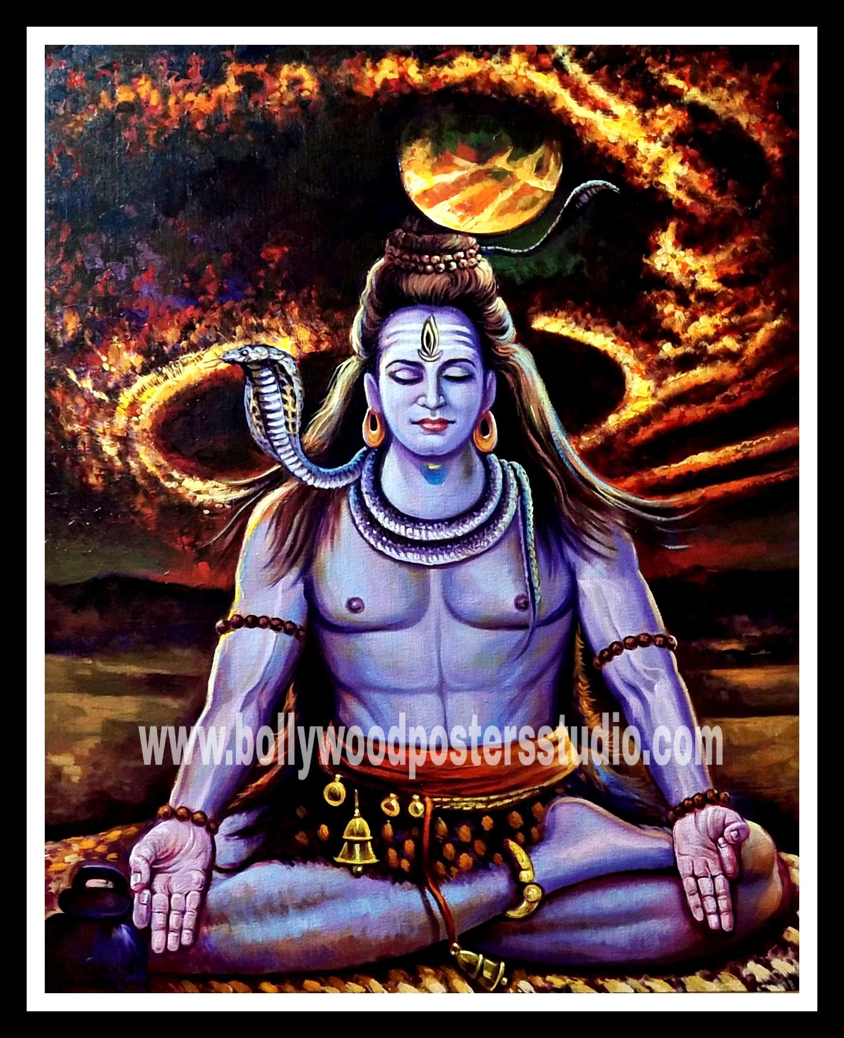 Mahadev rudra oil canvas painting