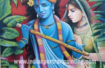Oil canvas lord Krishna paintings