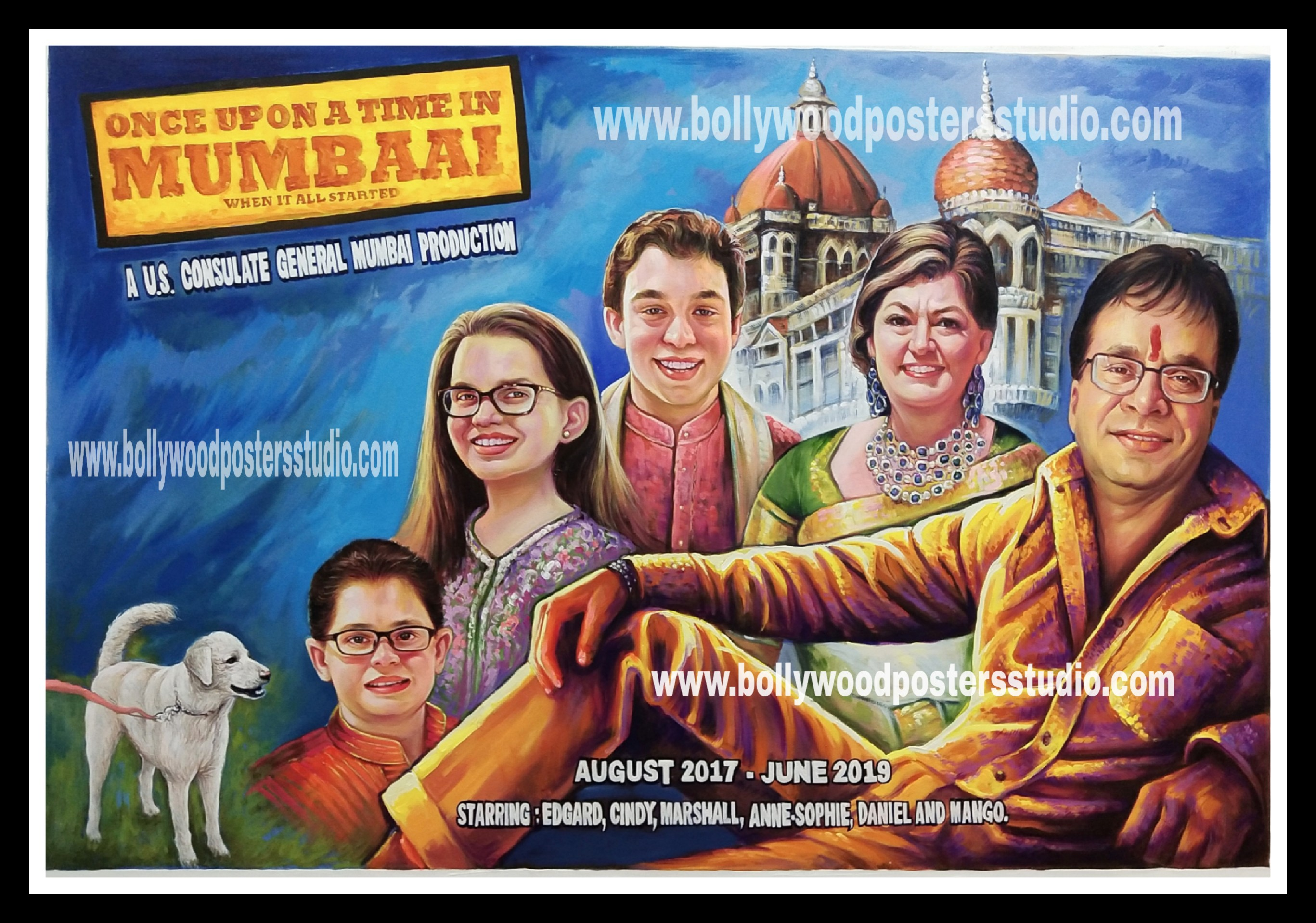 Family hand made portrait in bollywood themed