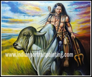 Oil canvas lord Shiva original painting