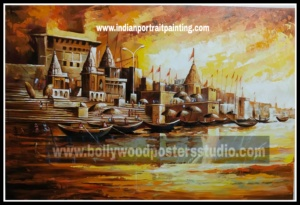 Oil on canvas paintings - Banaras ghat hand painted